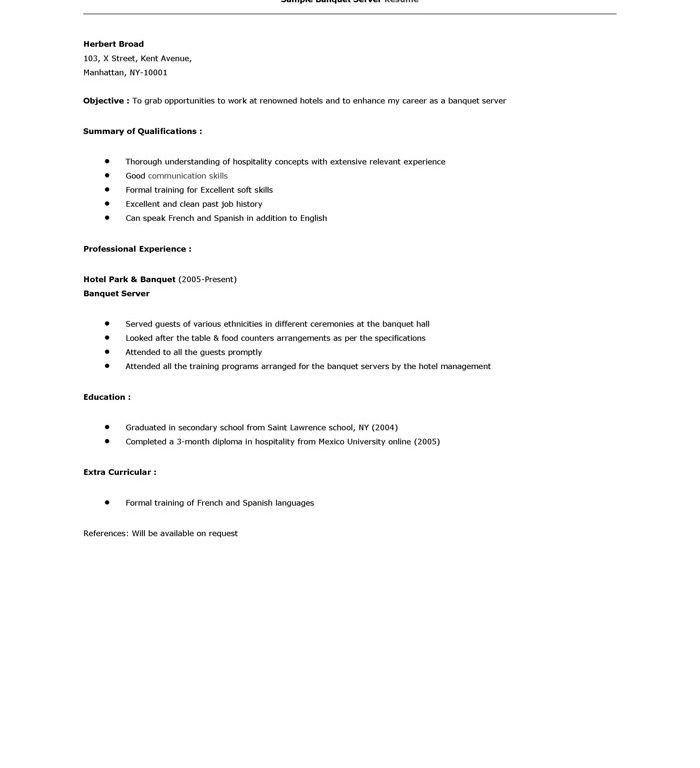 professional waitress resume