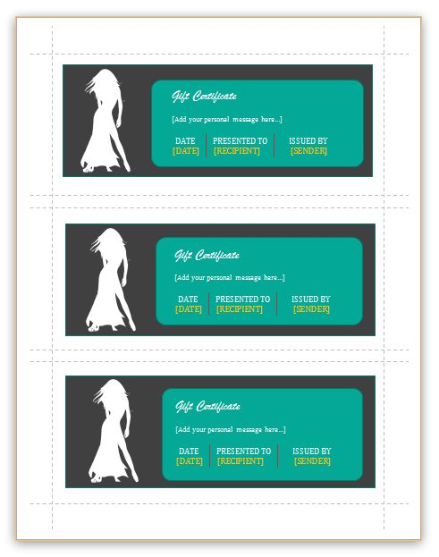 Gift Certificate Templates (Fashion, 3 per page) - Dotxes