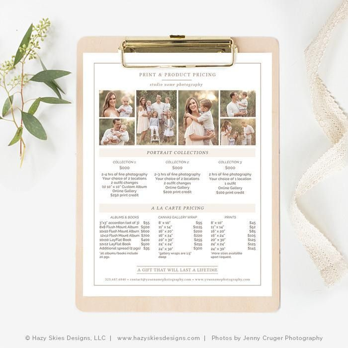 Photography Pricing Guide Template, Photography Price List ...