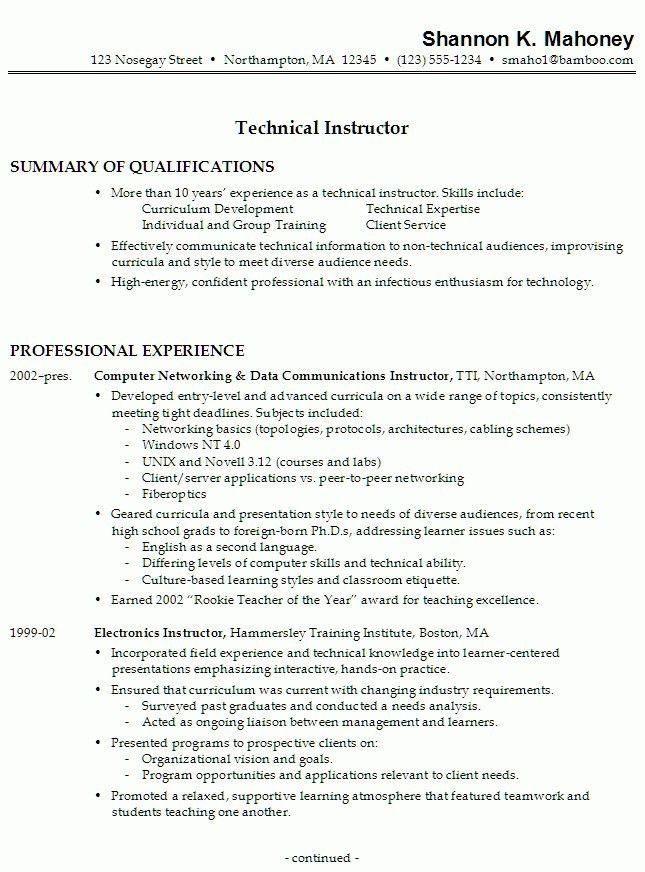 College Instructor Resume - Best Resume Collection