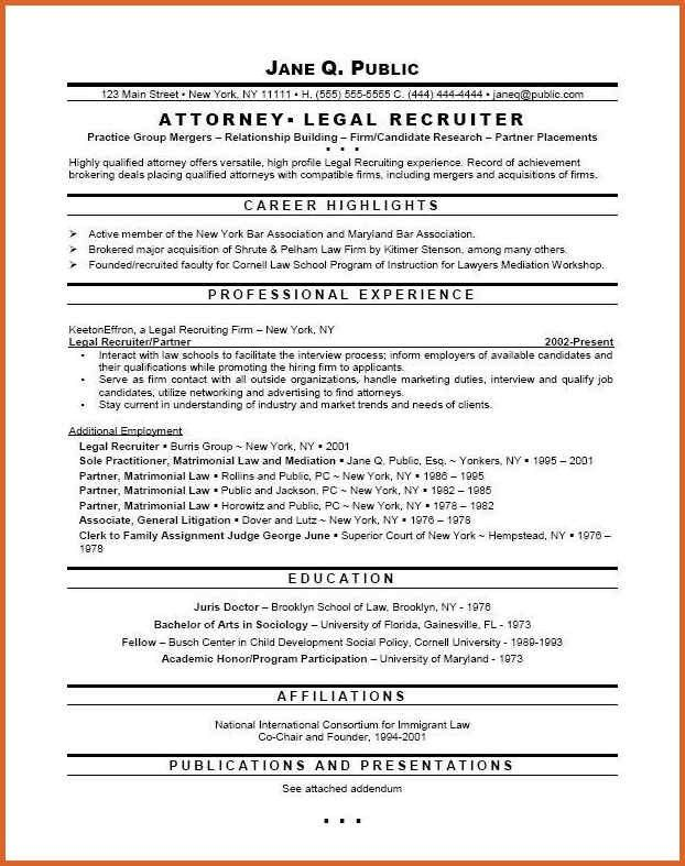 Resume examples for lawyers