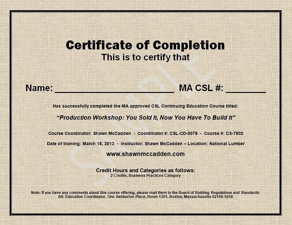 Sample MA CSL CEU Course Completion Certificate
