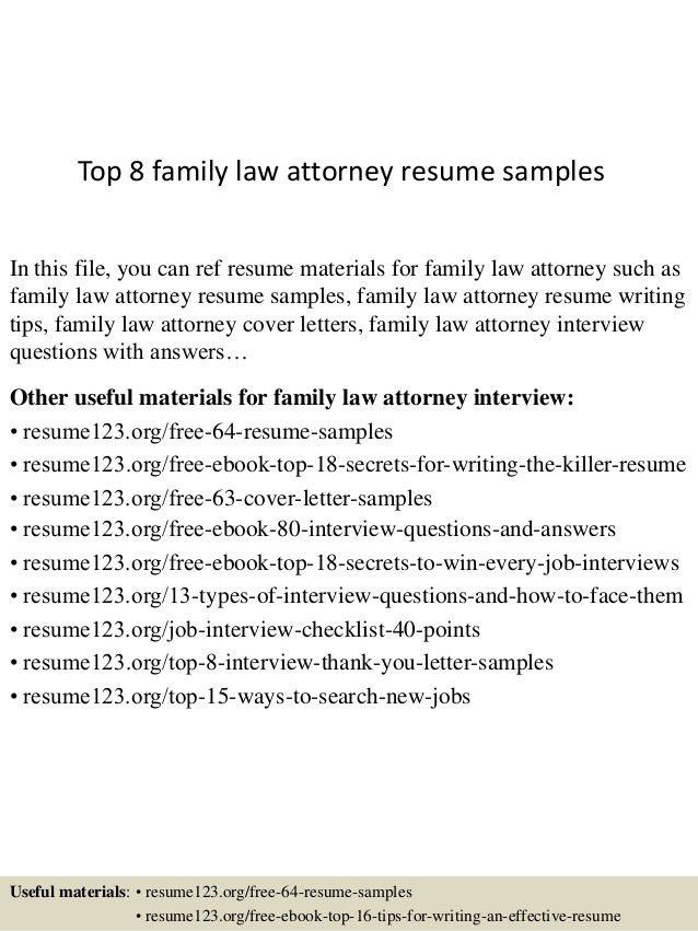 Top 8 Family Law Attorney Resume Samples 1   Attorney Resume