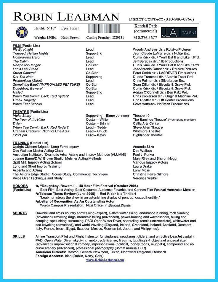 Actor Resume Template. Actor Resume Template Free Free Acting ...