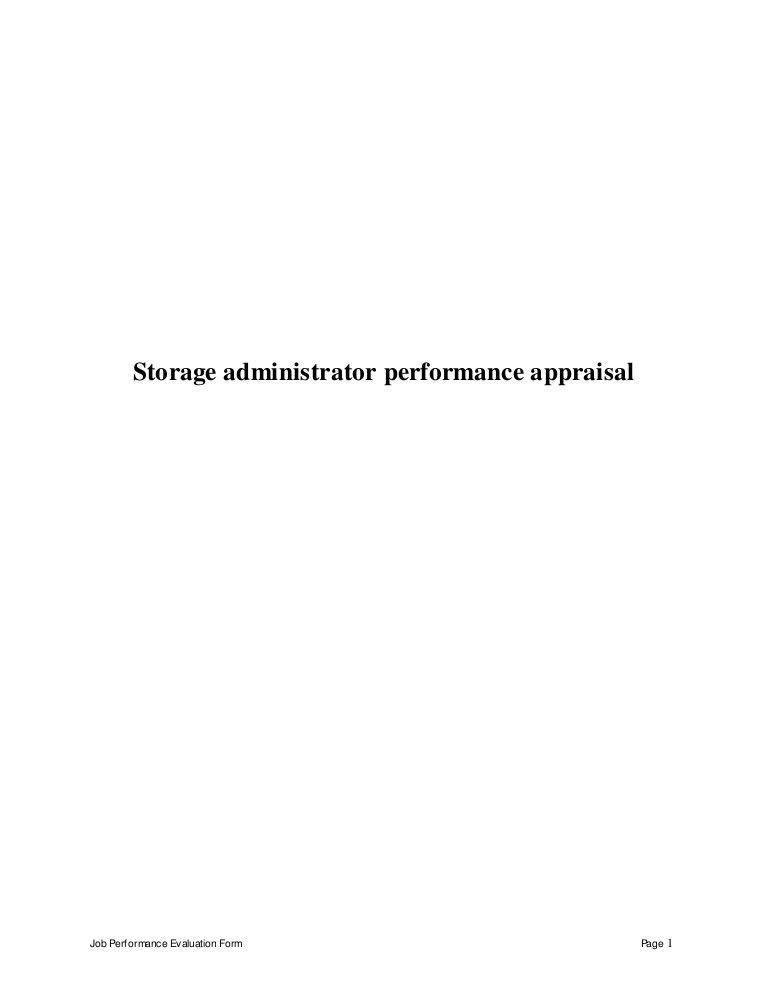 Storage administrator perfomance appraisal 2