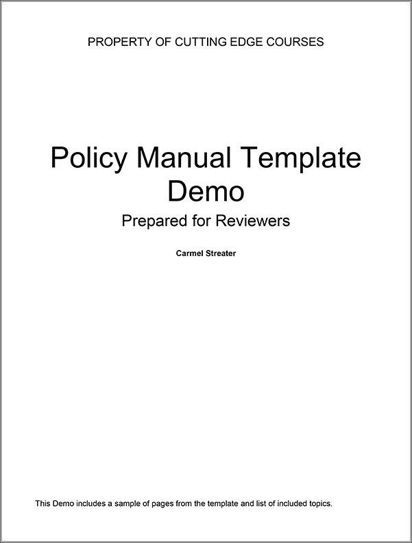 Real Estate Office Policy Manual Template Demo | Carmel Streater ...