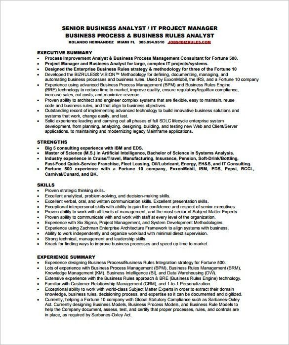 Business Analyst Resume Templates Samples - Gallery Creawizard.com