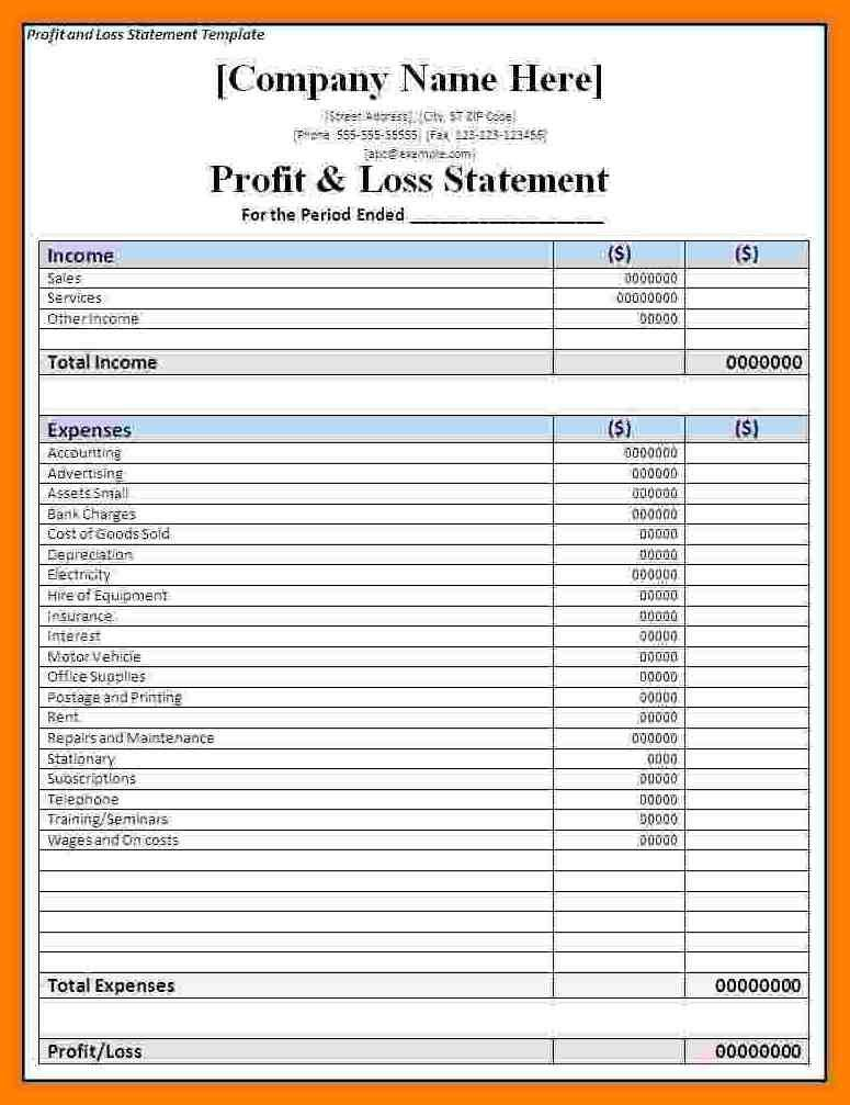profit and loss statement forms free