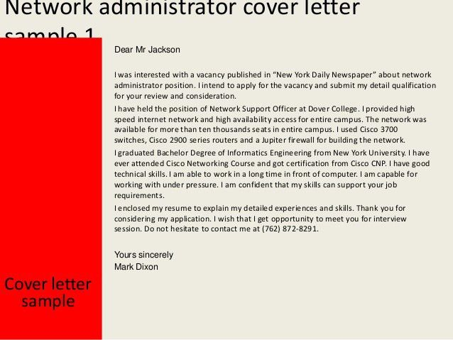 Assistant System Administrator Cover Letter