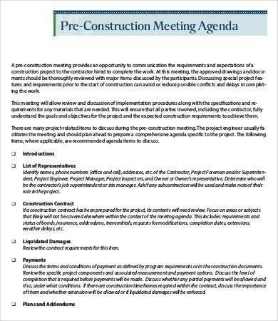 Construction Meeting Agenda Template - 6+ Free Word, PDF Documents ...