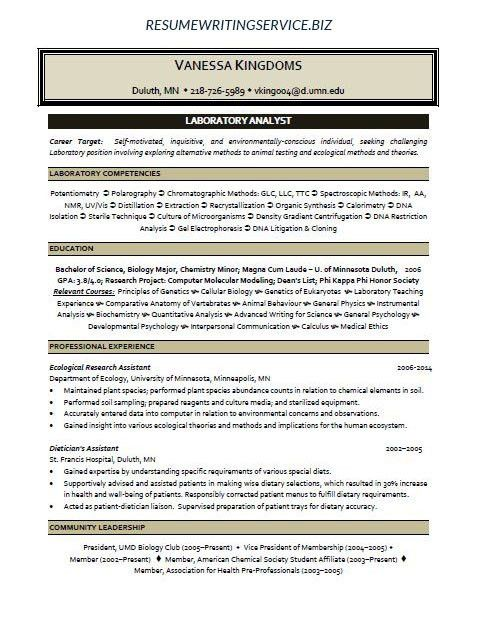 Environmental Analyst Sample Resume Professional Environmental