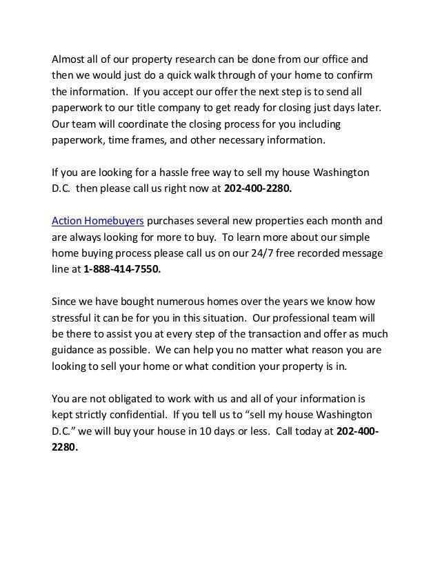 Sell My House Washington D.C. - Get an Offer Today