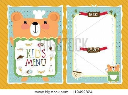 Kids menu. Kids restaurant. Colorful kids meal menu. Kids food ...