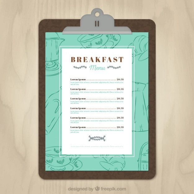 Breakfast menu template Vector | Free Download