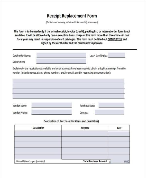 42 Free Receipt Forms
