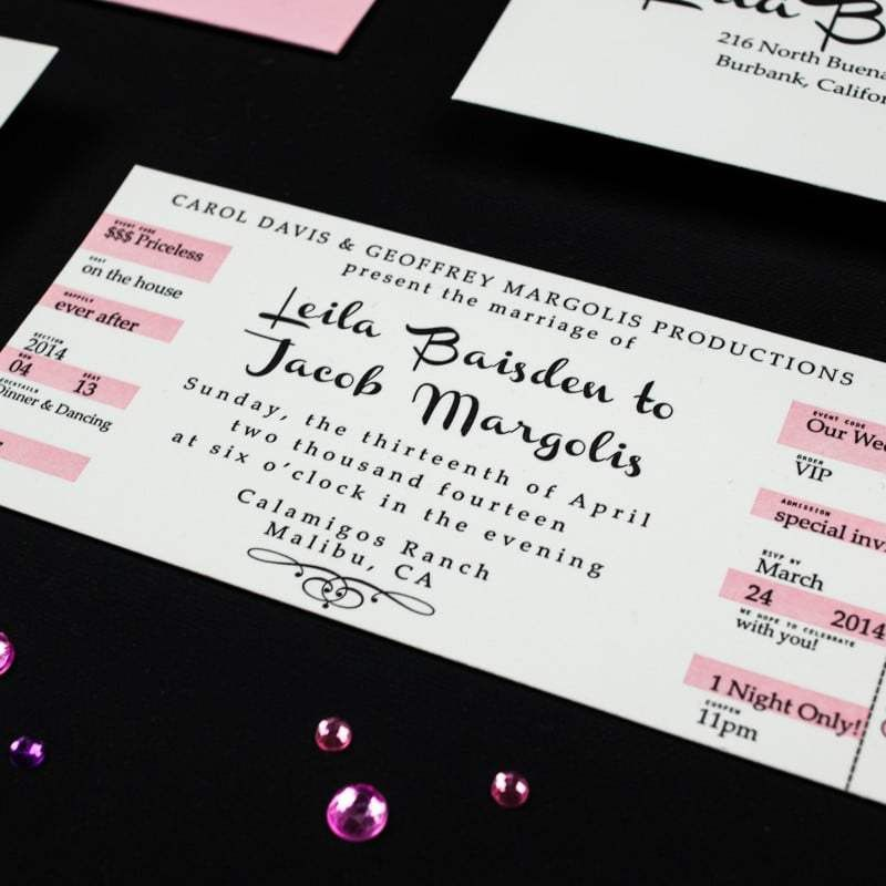 Concert Ticket Wedding Invitations - Too Chic & Little Shab Design ...