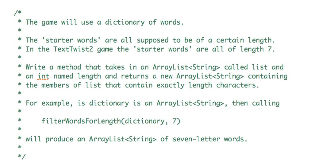 In Java Public ArrayList FilterWordsForLength(Arra... | Chegg.com