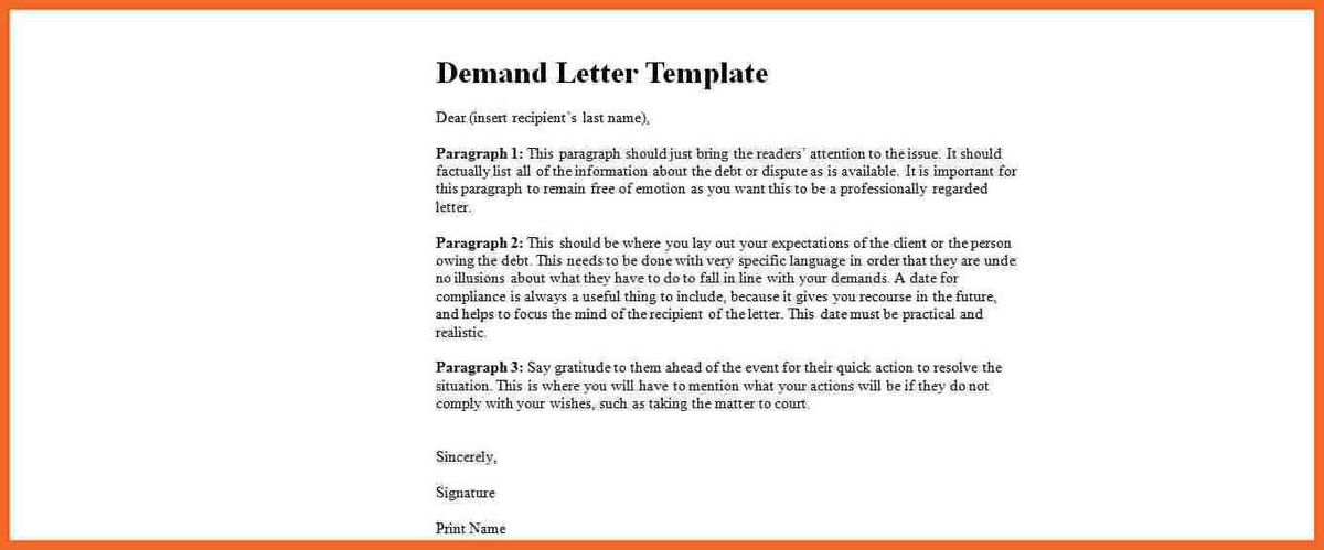 demand letter sample | sop example