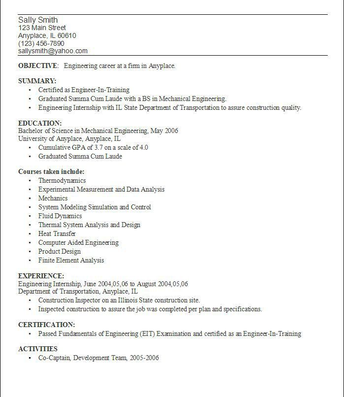 Resume Objective Example For College Students - Templates
