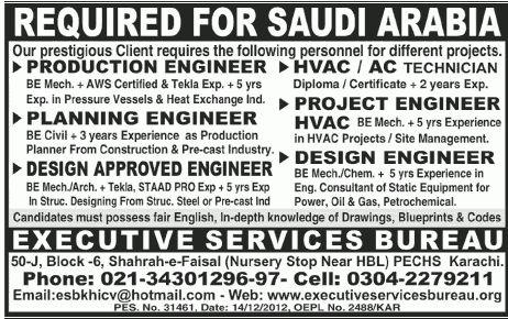 Executive Services Bureau Needs Engineers & Technician for Saudi ...