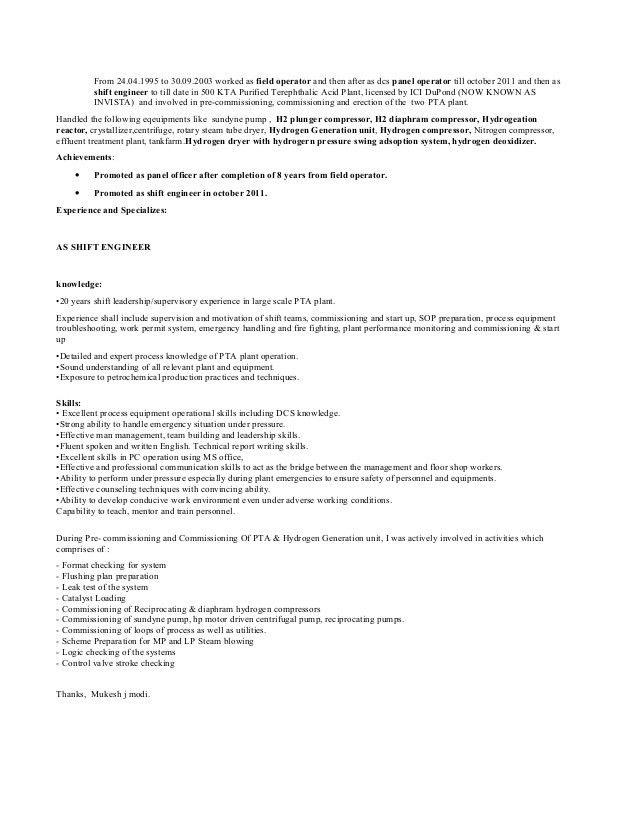 mukesh modi resume pta 052014