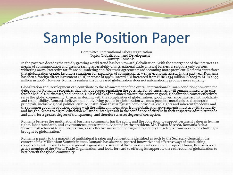 position paper wto Four steps to writing a position paper you can be proud of oman, due to its new position in the wto, has now broadened trade with western nations.