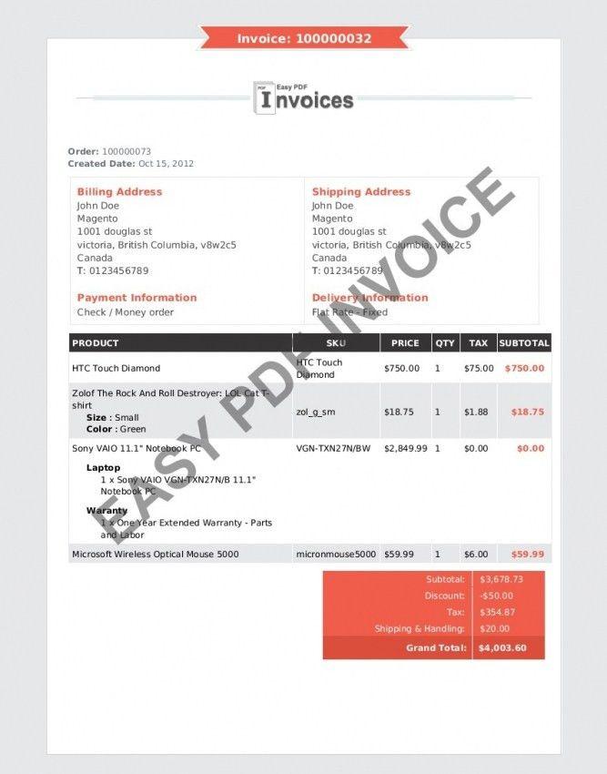 Magento Invoice Template Pdf | Design Invoice Template