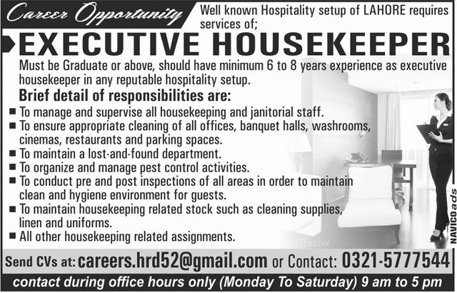 Jobs In Lahore Executive Housekeeper 2nd July 2017 Sunday ...