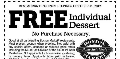 FREE Dessert Coupon at Boston Market | Club Freebies