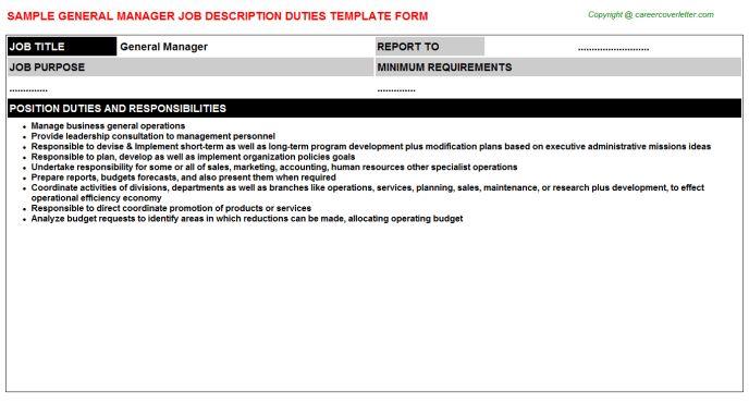 General Manager Job Title Docs