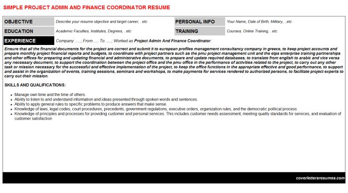 Project Admin And Finance Coordinator Cover Letter & Resume