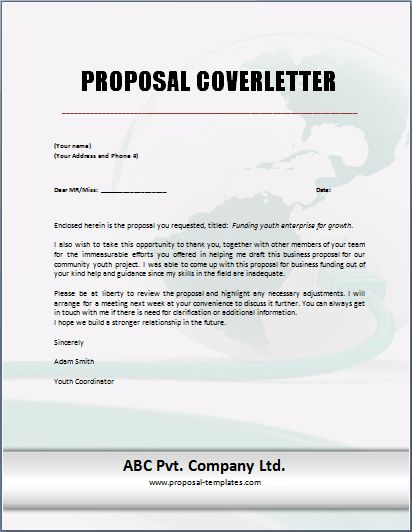 Cover Letter For Proposal - My Document Blog