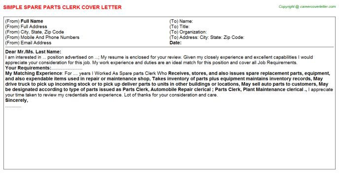 Spare Parts Clerk Cover Letter
