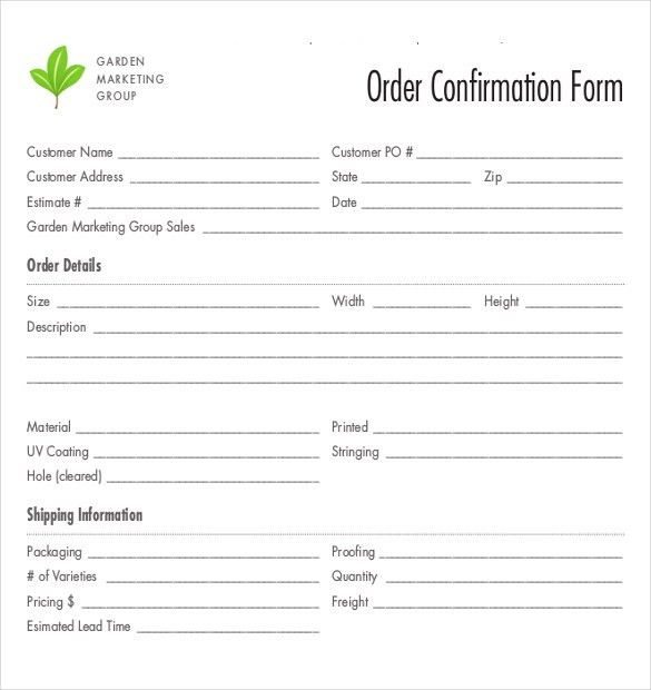 10+ Order Confirmation Templates – Free Sample, Example, Format ...