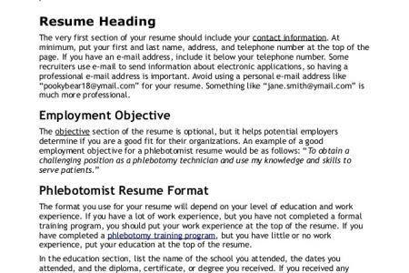 Resume Sample Phlebotomist Resume Certified Phlebotomist Resume ...