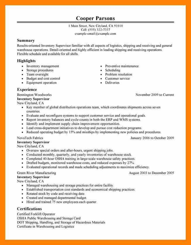 7+ warehouse supervisor resume | informal letter