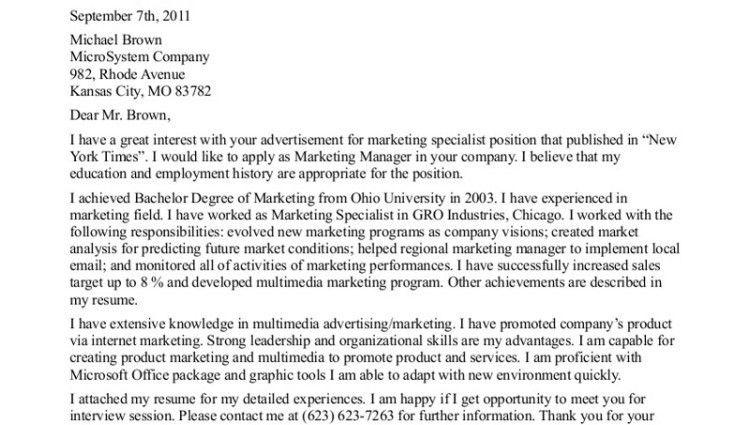 entry level marketing cover letter - Writing Resume Sample ...