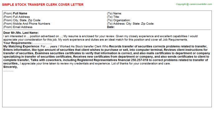 Stock Transfer Clerk Cover Letter
