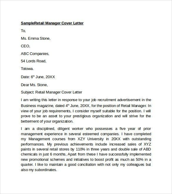 Retail Cover Letter Template. Covering Letter That Highlights A ...