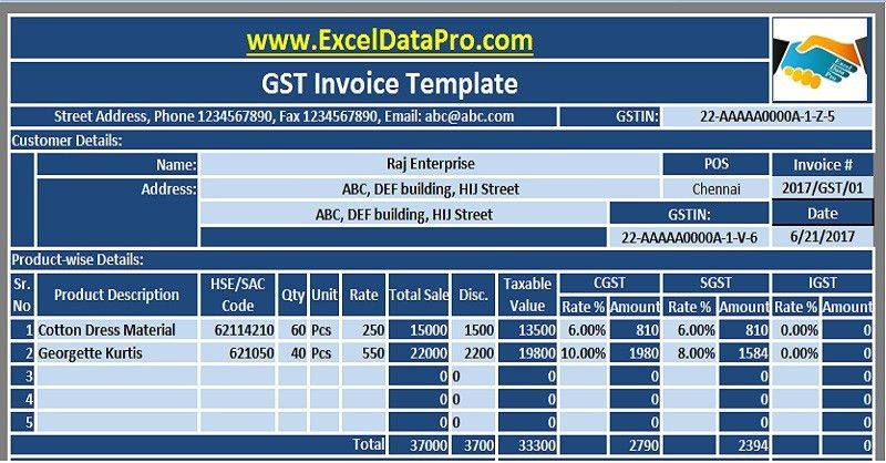 Download GST Invoice Excel Template In Compliance With GST Bill ...