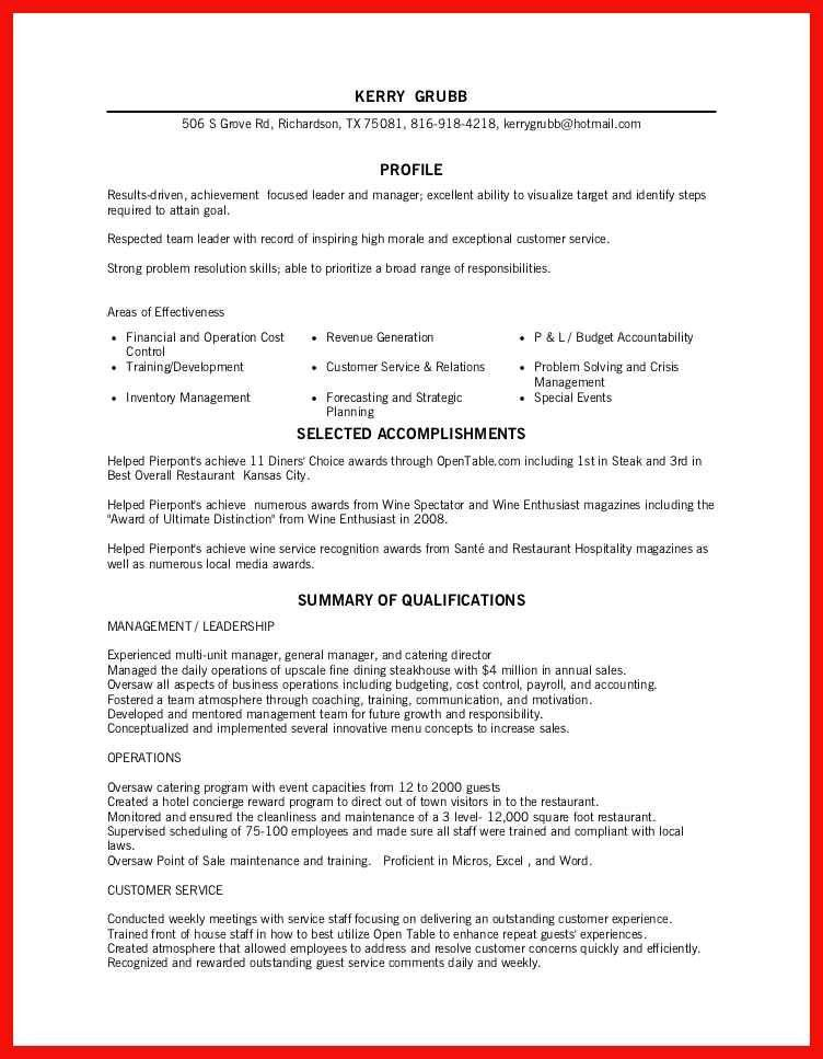 fine dining server resume | apa example