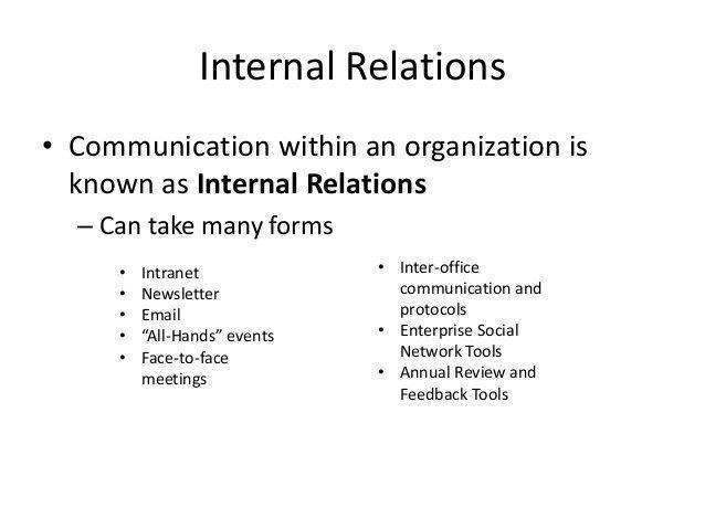 Public Relations: Internal Communications & Employee Relations