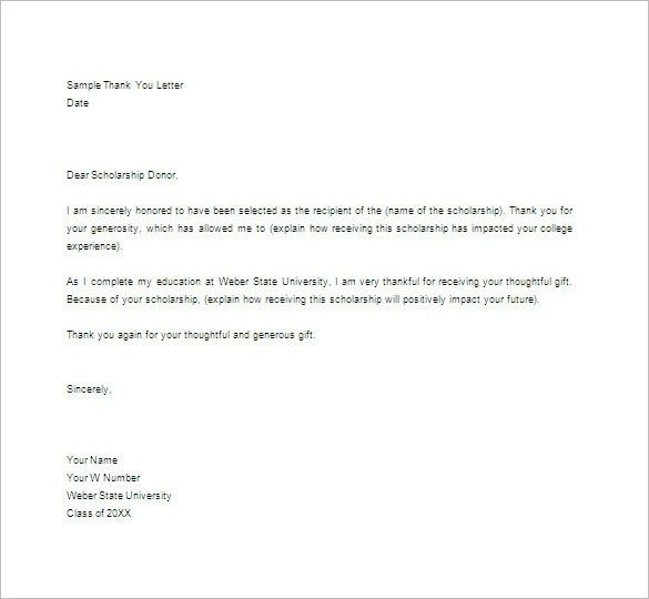 Thank You Letter For Scholarship Award. How To Write A Thank You .