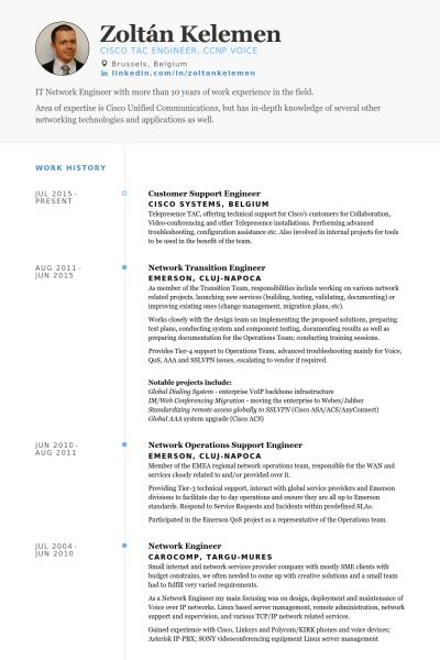 Support Engineer Resume samples - VisualCV resume samples database
