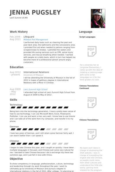 Lifeguard Resume samples - VisualCV resume samples database