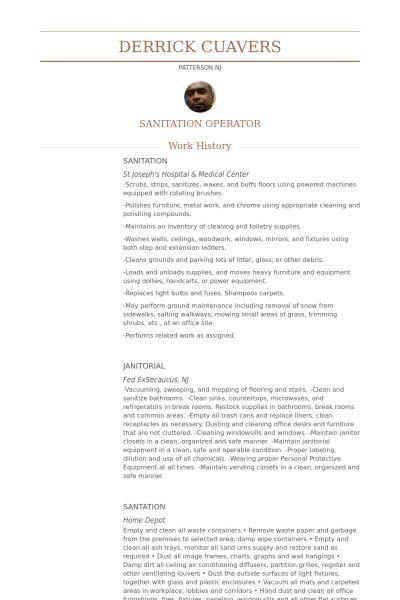 Sanitation Resume samples - VisualCV resume samples database