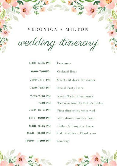 White Floral Wedding Itinerary - Templates by Canva