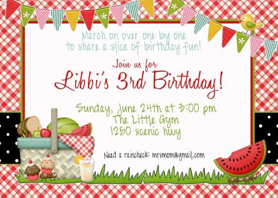 Picnic Birthday Invitation by GreatGrabbieDesigns on Etsy, $13.00 ...