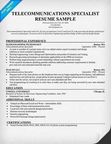 Article Title : How to Communicate in a Telecom Resume