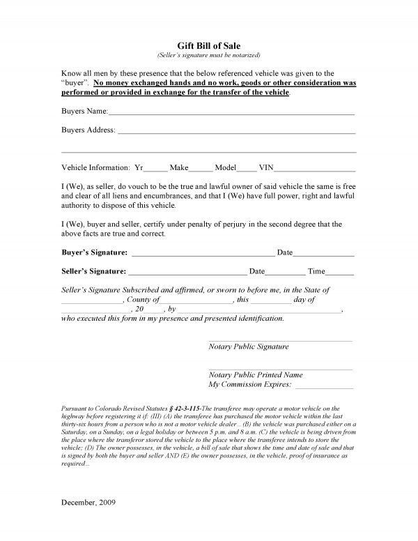 Free Colorado Vehicle Gift Bill of Sale | PDF | DOCX